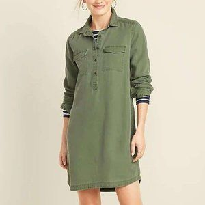 Old Navy NWT Faded Twill Popover Shirt Dress Green